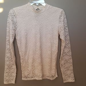 Hollister cream long sleeve lace top, sz M